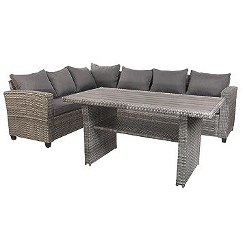 Mojawo Luxe Lounge Kit 5 pièces Mobilier de jardin en rotin Canapé d ...