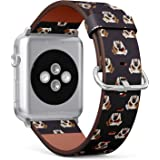 Compatible with Apple Watch Series 5, 4, 3, 2, 1 (Big Version 42/44 mm) Leather Wristband Bracelet Replacement Accessory Band + Adapters - Dog Breed Bulldog