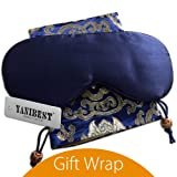 YANIBEST Adjustable Natural Silk Sleep Mask Blindfold 100% Pure Muberry Silk Eye Mask for Travel Dark Blue