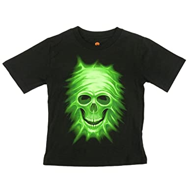 Amazon Com Happy Halloween Boys Black Glow In The Dark Skull T
