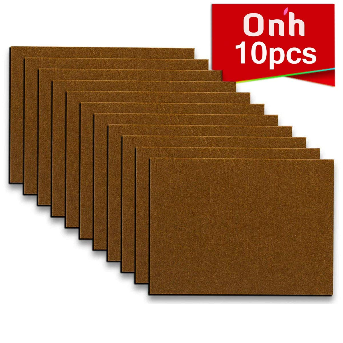 "Furniture Pads - 10 Pack ON'H Self-Stick Felt Furniture Pads with 3M Tapes Hardwood Floors Protectors – 8"" x 6"" x 1/5"" Sheet Cut into Any Shape – Brown"