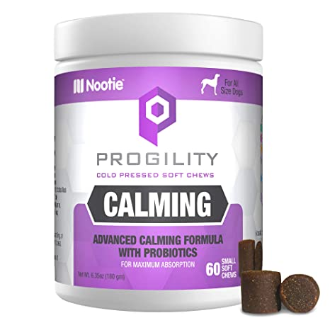 PROGILITY Nootie Calming Formula with Probiotics for Dogs - 60 Cold Pressed Soft Chews - Advanced