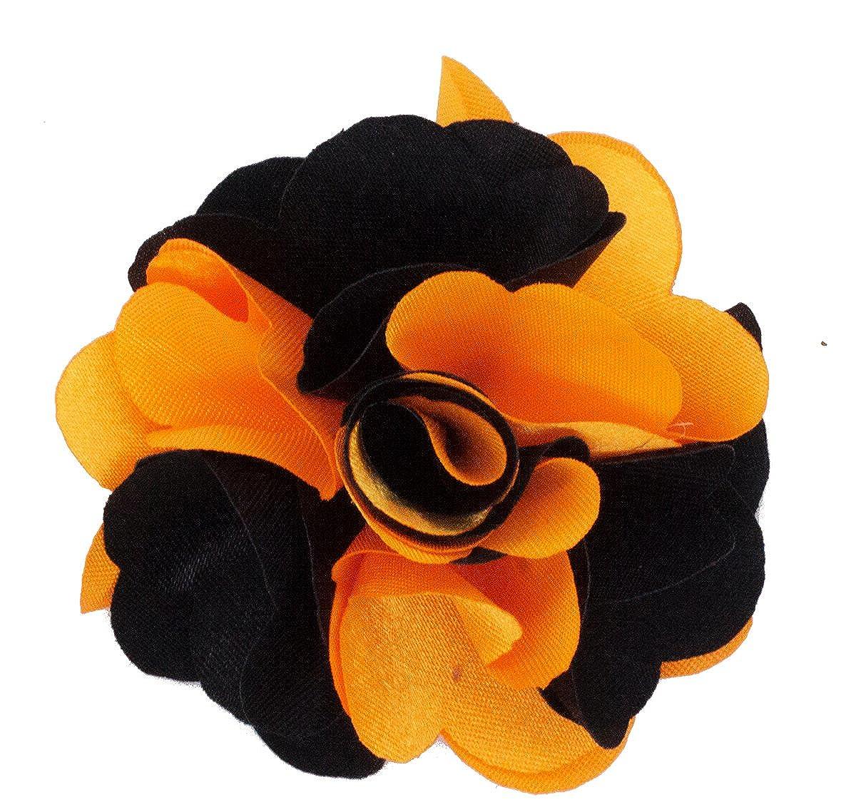 Orange and Black Mens Lapel Flower