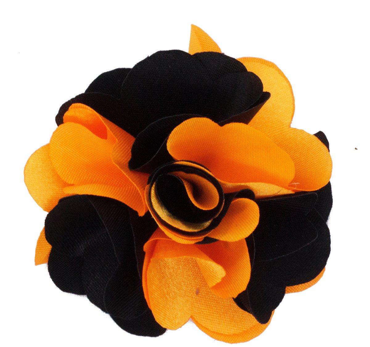 Mens Lapel Flower . Orange and Black