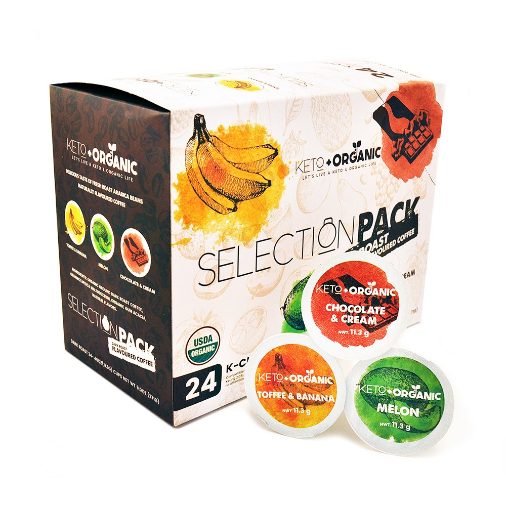 Flavored Coffee by Keto and Organic, Selection Pack: Banana&Toffee, Chocolate&Cream and Melon Flavors, Single Serve Coffee Pods compatible with all K-Cups Style Brewers, Organic (Flavored Coffee)