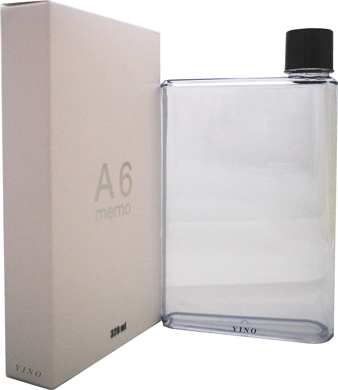 Botella de agua YINO portátil, elegante, transparente, reutilizable, sin BPA, a prueba de fugas, para deportes al aire libre, viajes. 350 ml transparente