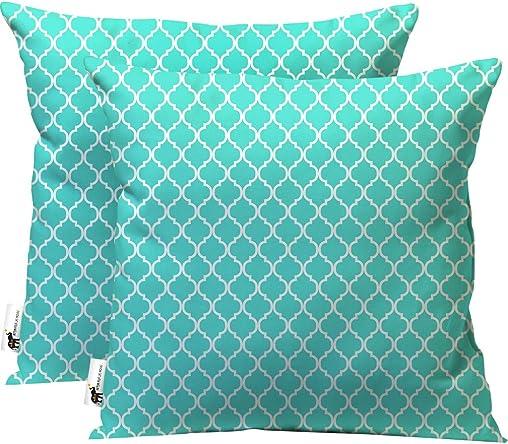 UBU Republic Retro Indoor Outdoor Throw Pillows – Set of 2 – Boho Teal Blue Moroccan Furniture Pillows 20X20