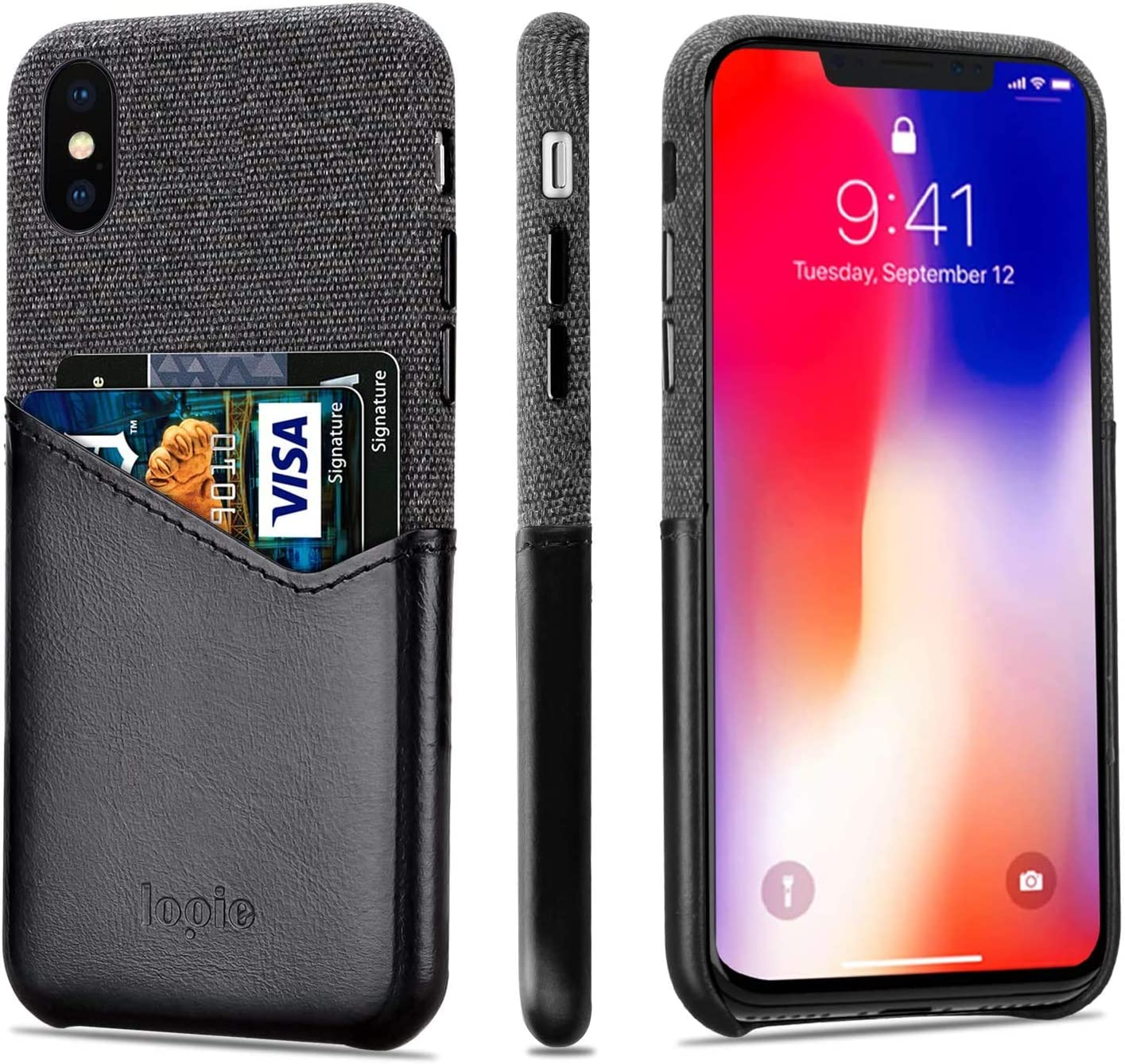 Lopie [Sea Island Cotton Series] Slim Card Case Compatible for iPhone Xs Max, Fabric Protection Cover with Leather Card Holder Slot Design, Black