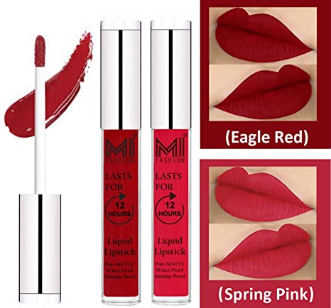 6c1f78a4 Buy MI FASHION Liquid Matte Lipstick Eagle Red, Spring Pink 3ml each (Combo  of 2) Online at Low Prices in India - Amazon.in