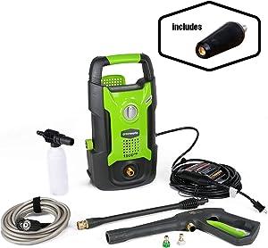 Greenworks 1500 PSI 1.2 GPM Pressure Washer + Brass Turbo Nozzle