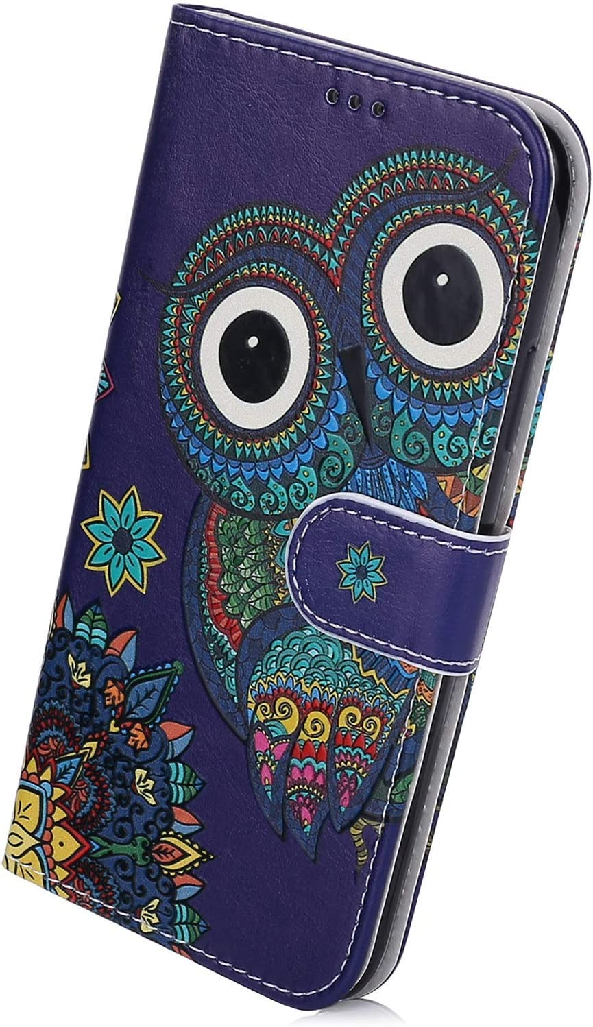 Herbests Compatible with Samsung Galaxy A60 Wallet Case Folio Leather Cover Colorful Vintage Pattern Shockproof Flip Protective Cover with Credit Card Slot Kickstand,Purple Flower Butterfly
