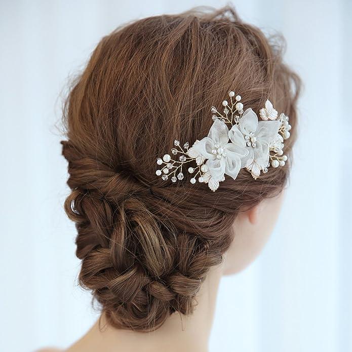 Clearine Women's Artificial Pearls Crystal Flower Handmade DIY Bridal Wedding Hair Accessories Hair Accessories. mx6S0qc