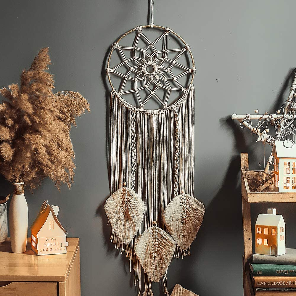Nice Dream Macrame Dream Catcher Woven Feather Wall Hanging Handmade Dreamcatcher Boho Tassels Decoration Home Decor Ornament Craft Gift, 36 x 8 inches (Beige)