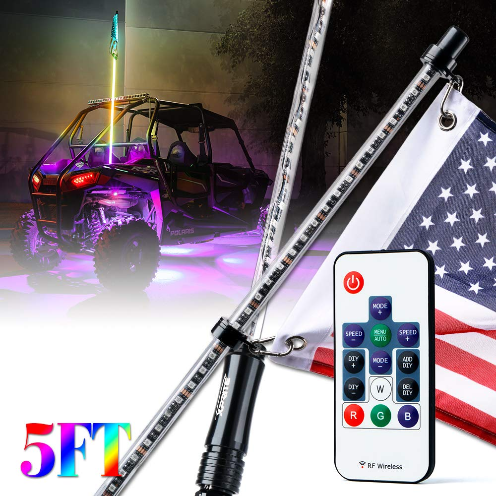 Xprite 4ft (1.2M) Remote Controlled LED Whip Lights Dancing RGB Light Flag Pole Safety Antenna with Flag for Offroad Sand Dune Buggy UTV ATV 4X4 Truck Jeep