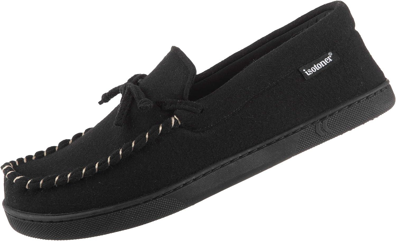 ISOTONER Men's Memory Foam Blake Moccasin Slipper Faux Wool House Shoe, Indoor/Outdoor Comfort