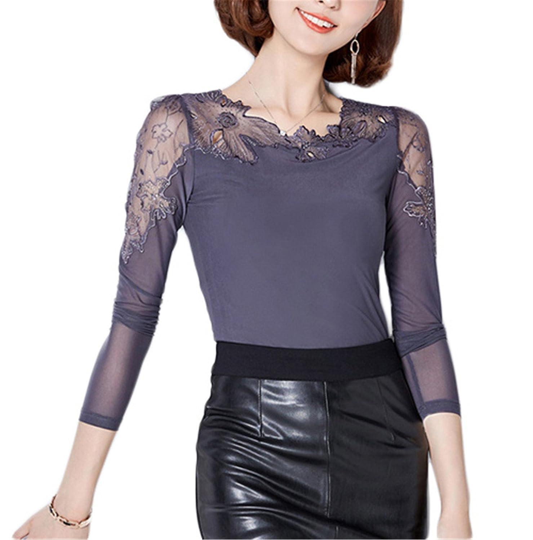 Amazon.com: QugongY store Chemise Femme Plus Size Lace Blouse Chiffon Shirt Women Tops Long Sleeve Women Blouses Blusas Camisas: Clothing