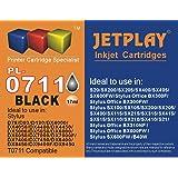 4 x Jetplay compatibles T0711 ( Black cartridges ) for Epson Stylus D78 D92 D120 DX4000 DX4050 DX4400 DX4450 DX5000 DX5050 DX6000 DX6050 DX7000F DX7400 DX7450 DX8400 DX8450 DX9400P S20 SX100/SX105 SX200 SX205 SX400 SX405 SX600FW Office B40W BX300F BX600FW.