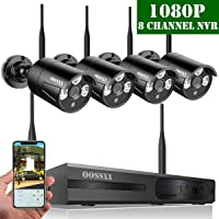 【2019 Update】Full HD 1080P 8-Channel OOSSXX Wireless System/IP Security Camera System,4Pcs 1080P (2.0 Megapixel) Wireless Indoor/Outdoor IR Bullet IP Cameras,P2P,App, NO Hard Drive