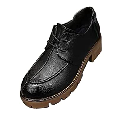 5d2c162319 Women Casual Lace Up Scool Office Oxford Loafers Shoes Pumps Wing Tip Platform  Black