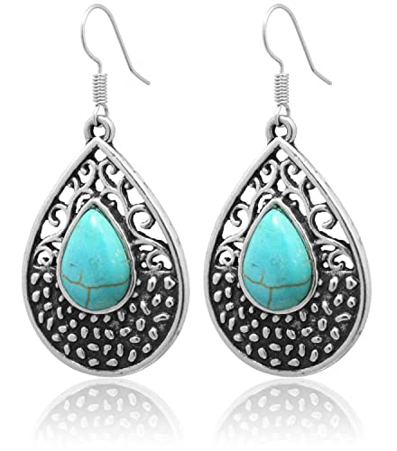 Blau Ohrringe Vintage Boho Ohrringe Ohrringe Ornamente Perlenweben & Schmuckherstellung