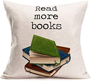 Aremetop Book Pillows Decorative Throw Pillow Cover Red More Books Motivational Quote with Colorful Books Printed Cotton Linen Pillow Case 18x18 Inch Square Cushion Cover for Book Lover