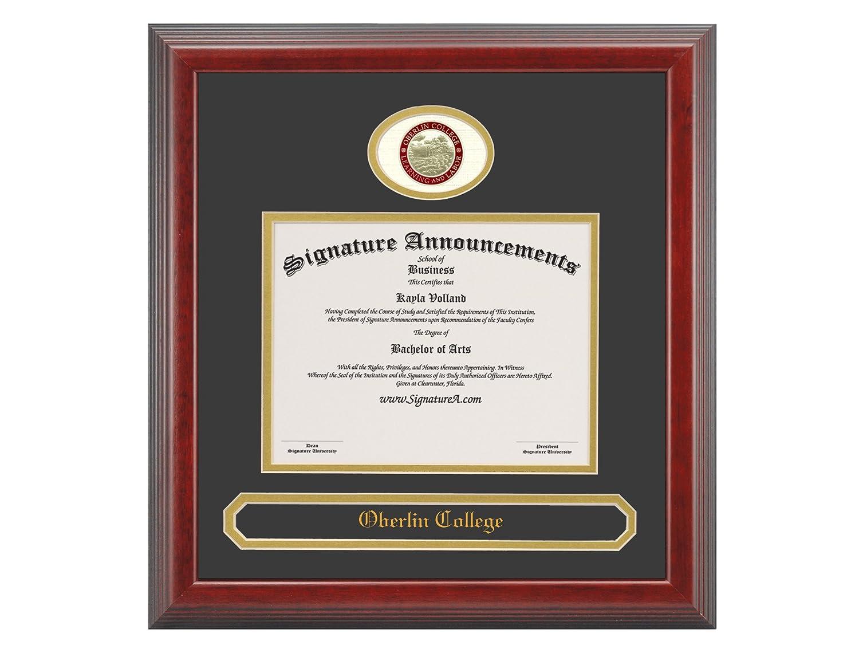 Signature Announcements Oberlin-College Undergraduate 16 x 16 Sculpted Foil Seal /& Name Graduation Diploma Frame Cherry