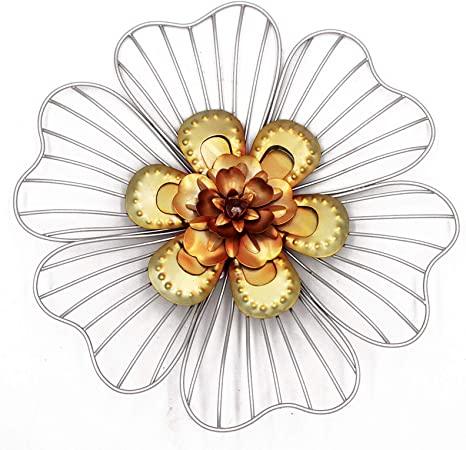 Amazon Com Vintage Wall Decoration Metal Flower Wall Art Decor Silvery Home Kitchen