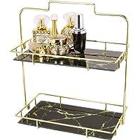 Estante organizador de maquillaje, canasta de almacenamiento de cosméticos de 2 niveles con charola de vidrio extraíble…