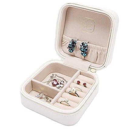 Lelady Jewelry Small Jewellery Box Mini Travel Jewellery Boxes Case Portable Faux Leather Jewellery Storage Box Organiser For Women Girls White