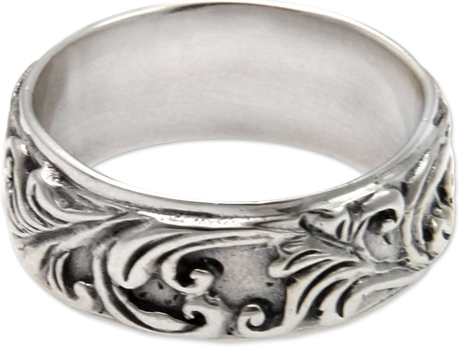 NOVICA .925 Sterling Silver Leaf and Tree Band Ring, Flourishing Foliage'