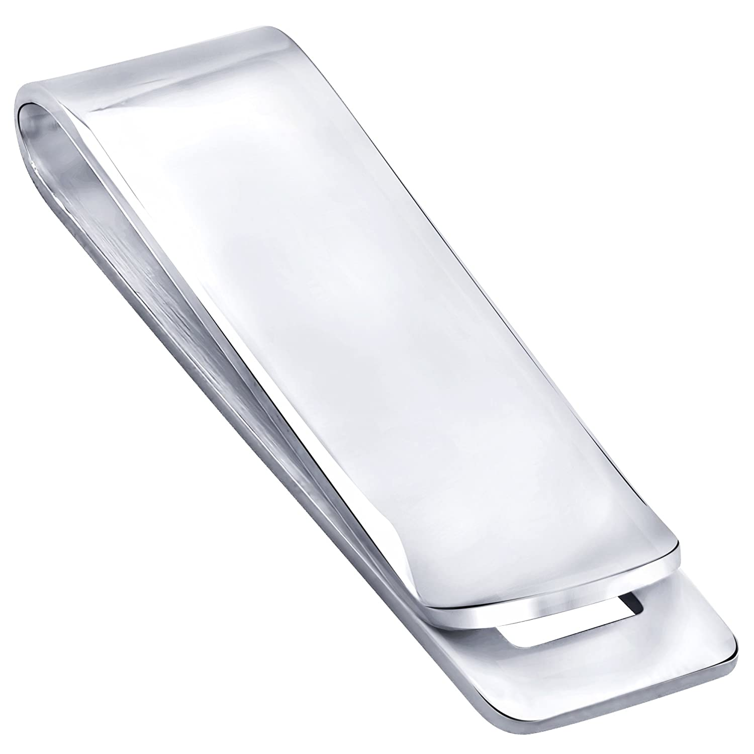 Sterling Silver .925 Engravable Solid Plain Design Money Clip, Made In Italy. By Sterling Manufacturers MC70709