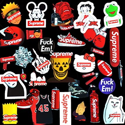40d212186 Supreme Stickers Decal Pack 33Pcs,Cool Supreme Box Logo Waterproof Sticker  for Phone,Laptop,Car,Skateboard,Luggage,Motorcycle,Bike DIY Party Supplie  ...