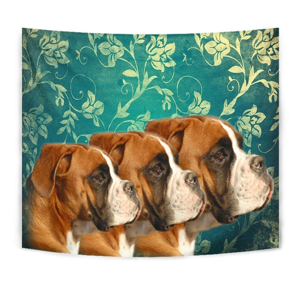 Boxer Dog On Blue Print Tapestry by Simply Cool Trends