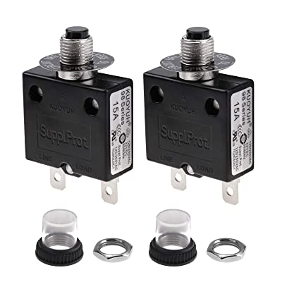 2 Pcs 30A 125//250V Push Button Reset Overload Protector Thermal Circuit Breaker