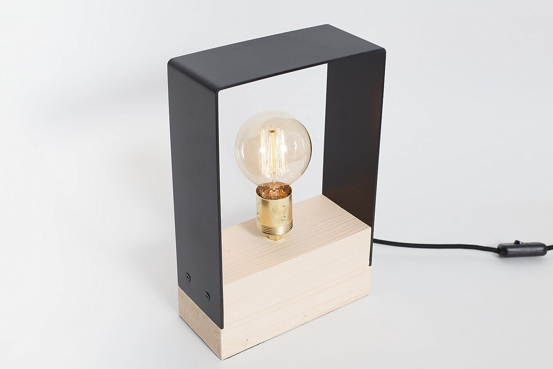 Lámpara de madera, lámpara de hierro, lámpara edison, lámpara handmade