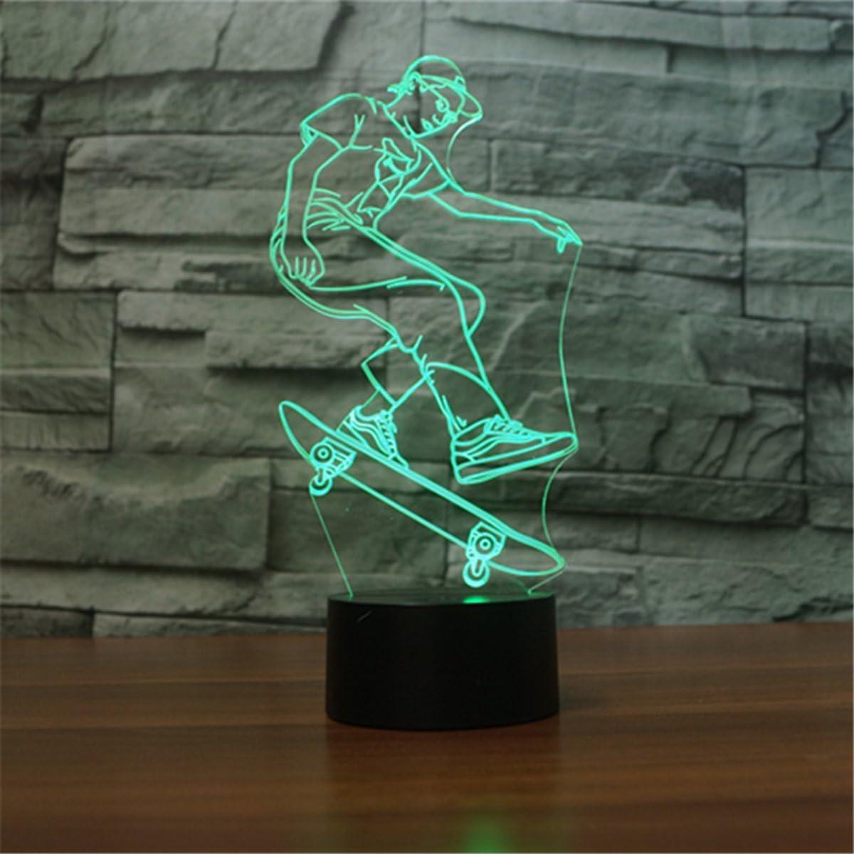 Bailarina 3D L/ámpara /óptico Illusions Luz Nocturna,KINGCOO L/ámpara de Mesa Luces de Noche 7 Color Cambio USB T/áctil LED Table Ambiente L/ámpara de Escritorio para Decoraci/ón del Hogar