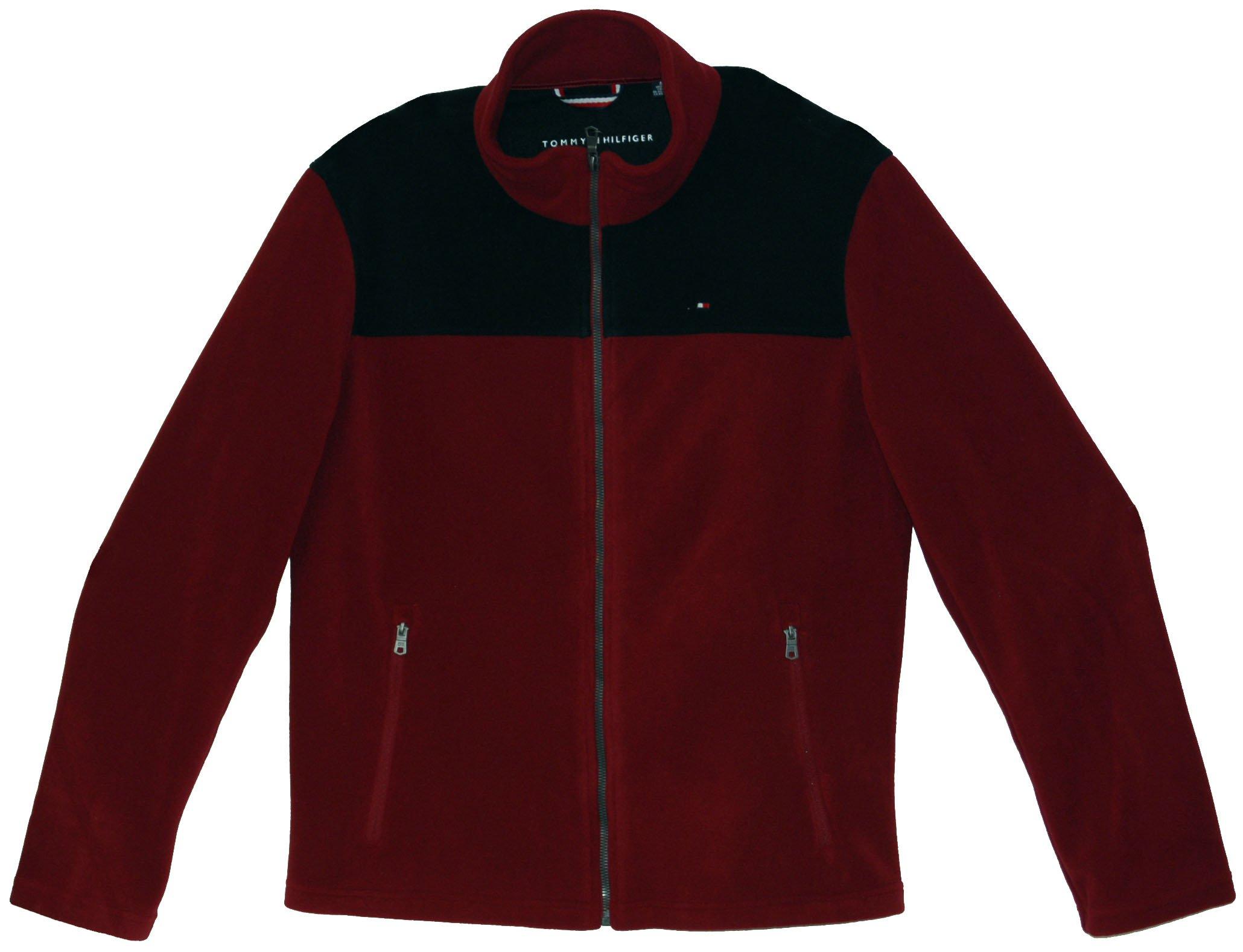 Tommy Hilfiger Mens Full-Zip Sweater (L, Red/Black)