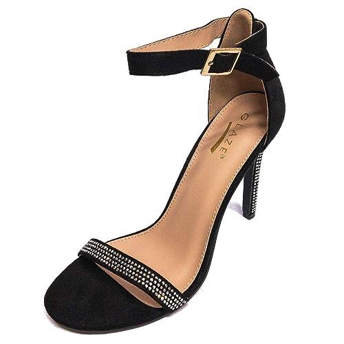 e41c94530dd0 Glaze Women s Charlie-1X Ankle Strap High Heel Sandal (Black Studded