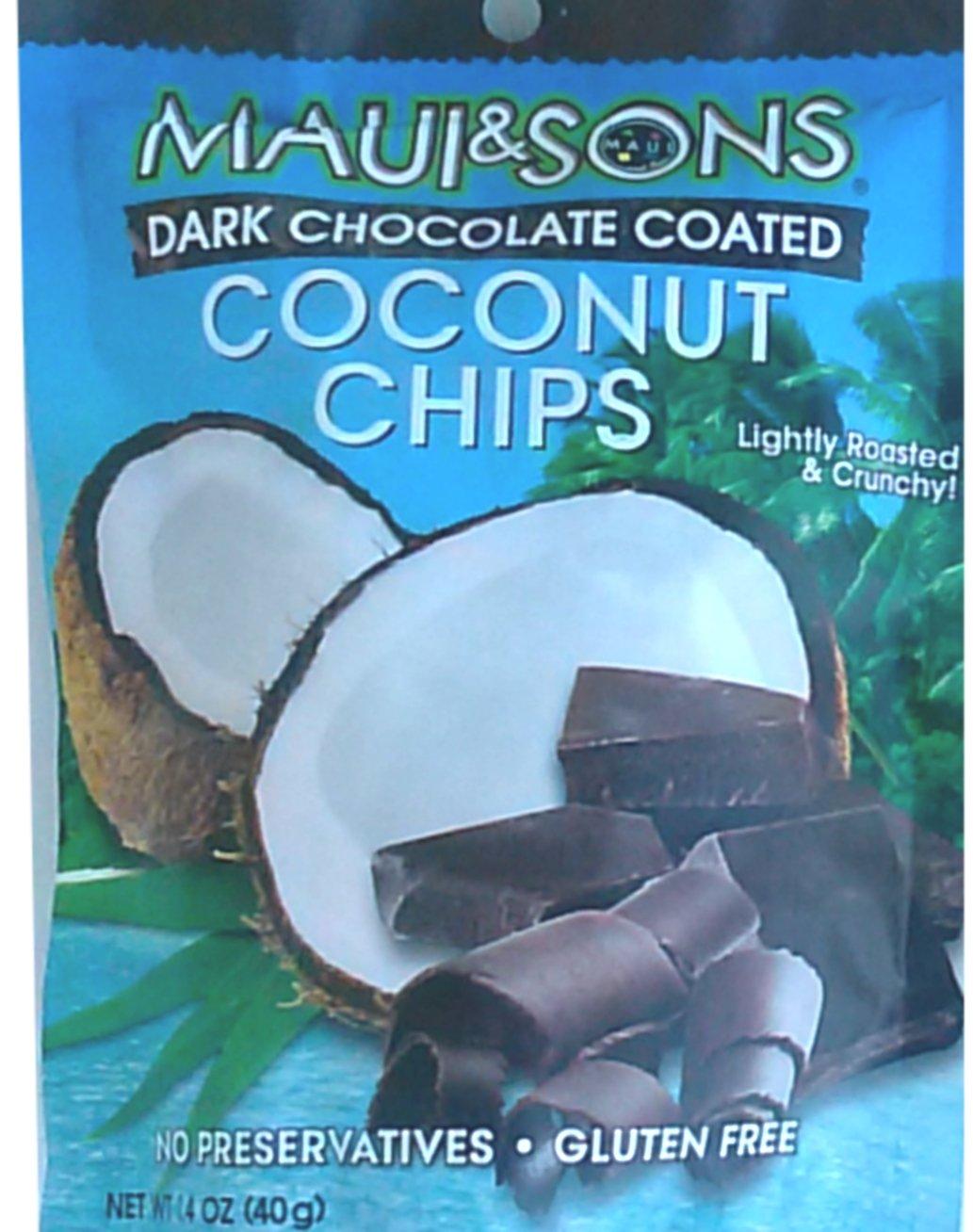 Maui & Sons Dark Chocolate Coated Coconut Chips Yumm Yummy