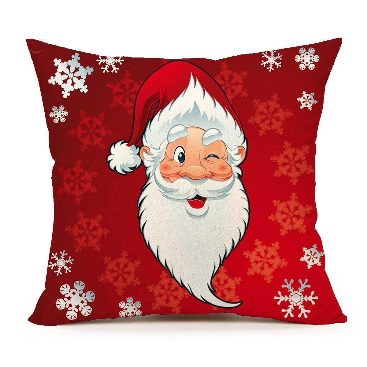 spxubzレッドサンタクロースクリスマス( Smile )枕カバー装飾ホーム装飾素敵なギフトスクエアインドア/アウトドア枕カバーサイズ: 18 x 18インチ(両面) 16x16 Inch B07CGLQZLM
