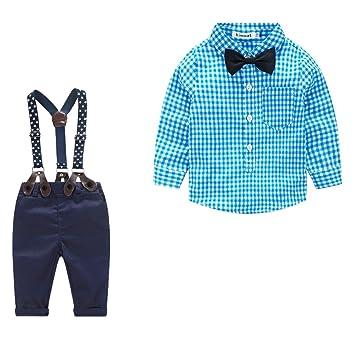2 Stk. Niño Joven Traje, Azul Camisa de cuadros con pajarita ...