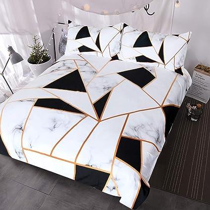 Amazon.com: BlessLiving Marble Print Bedding White Black Geometric ...