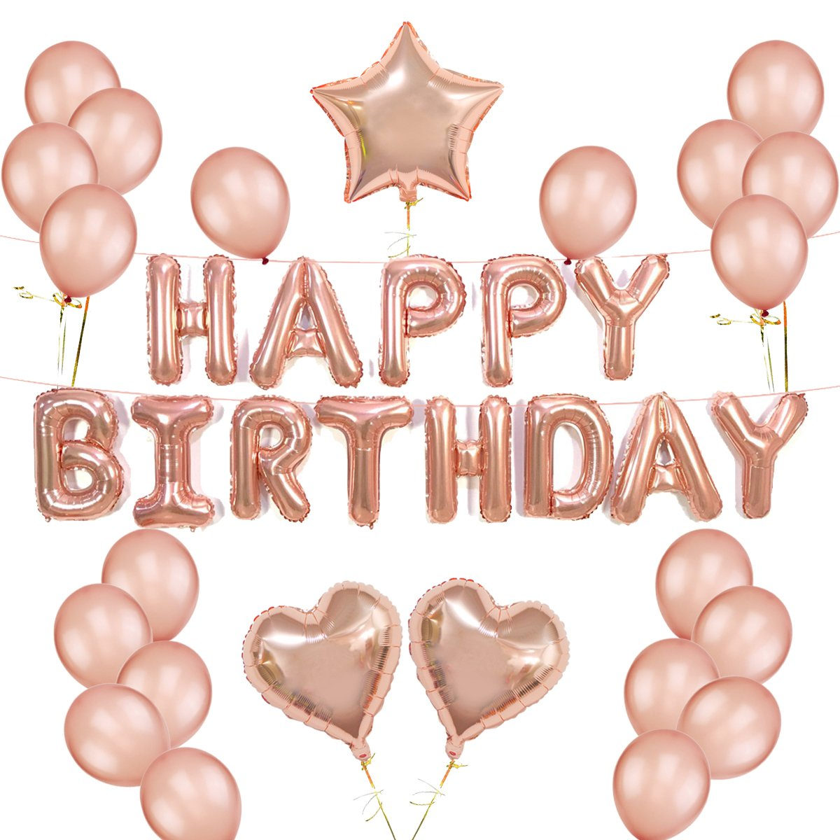 Rose Gold Balloons Decorations Set Happy Birthday Banner 12'' Rose Gold Balloon and Star Heart Foil Balloons with Gold String for Party Supplies
