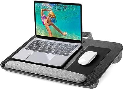 gris Plateau de coussin de table de bureau pour ordinateur portable portable Lap Notebook avec lampe et porte-boisson
