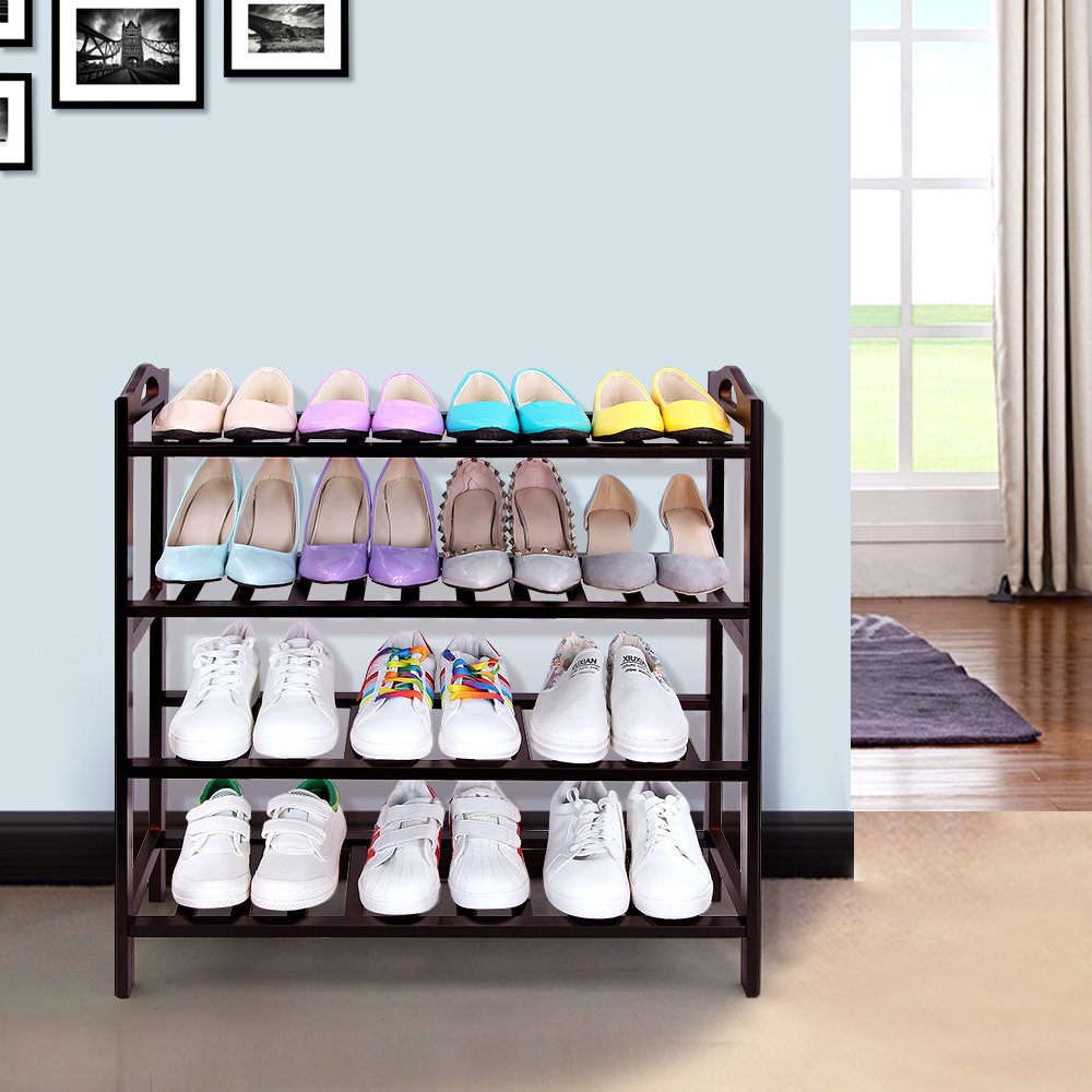 SONGMICS 100% Bamboo 4-Tier Shoe Rack 30 Inch Wide Entryway Shoe Shelf Storage Organizer, 26.6'' L x 10.4'' W x 29.4'' H,Holds Up to 16 Pairs,Ideal for Hallway Bathroom Garden Brown ULBS94Z by SONGMICS (Image #2)