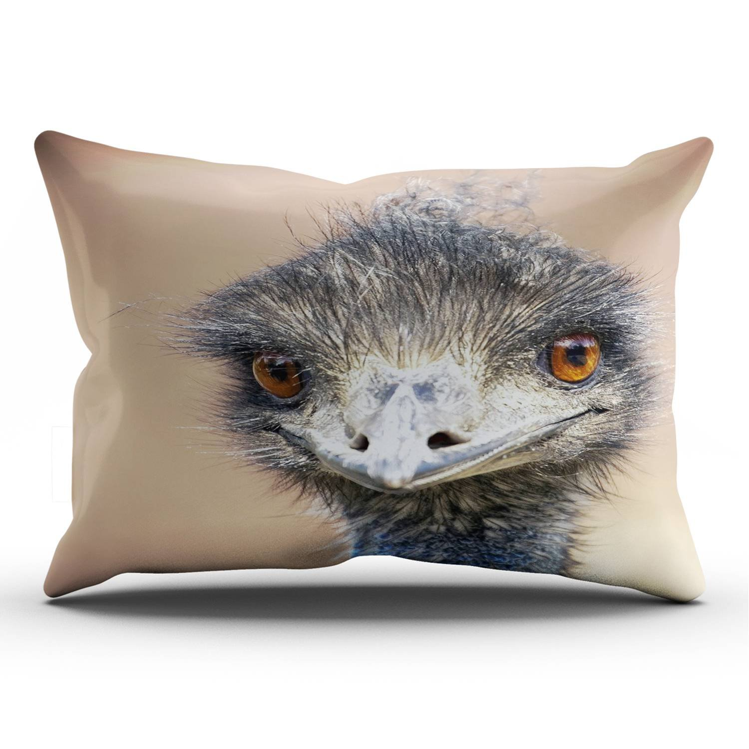 KEIBIKE Personalized Animal Emu Bird Ostrich Rectangle Decorative Pillowcases Art Zippered King Pillow Covers Cases 20x36 Inches One Sided