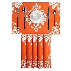 BRAWARM Placemats for Dining Table Vintage Damask Floral Farmhouse Table Mats Solid Printed Handmade Place Mats for Kitchen Table 12 X 18 Inches Orange Set of 6