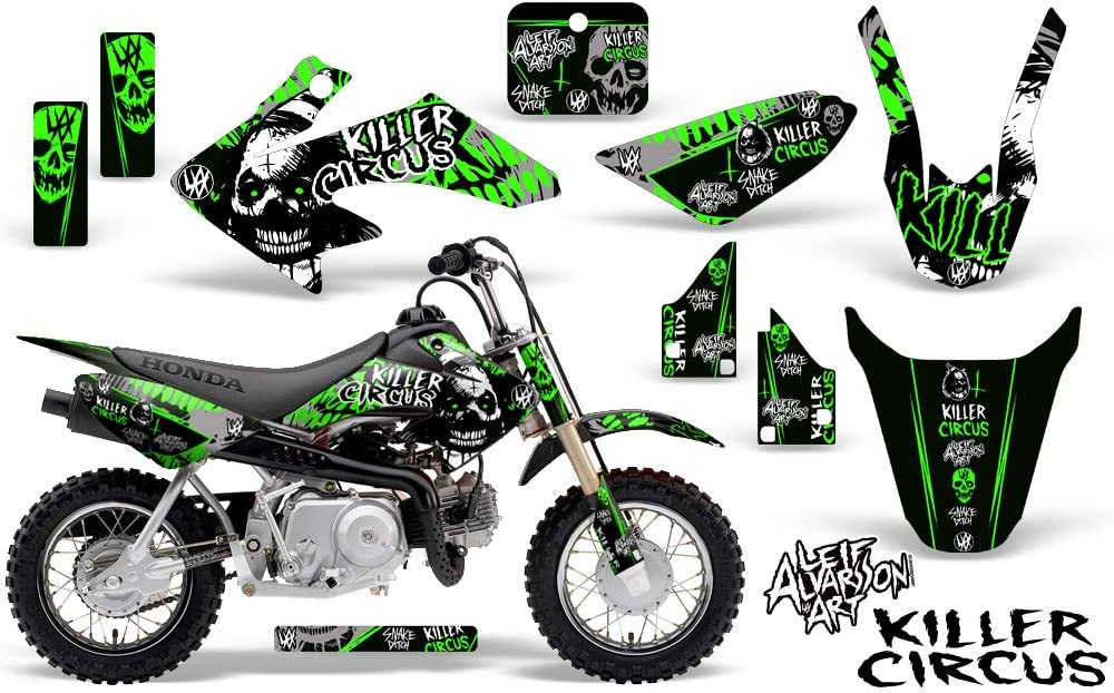 Savage Kits MX Graphics kit Sticker Decal Compatible with Honda CRF50 2004-2015 Killer Circus Green