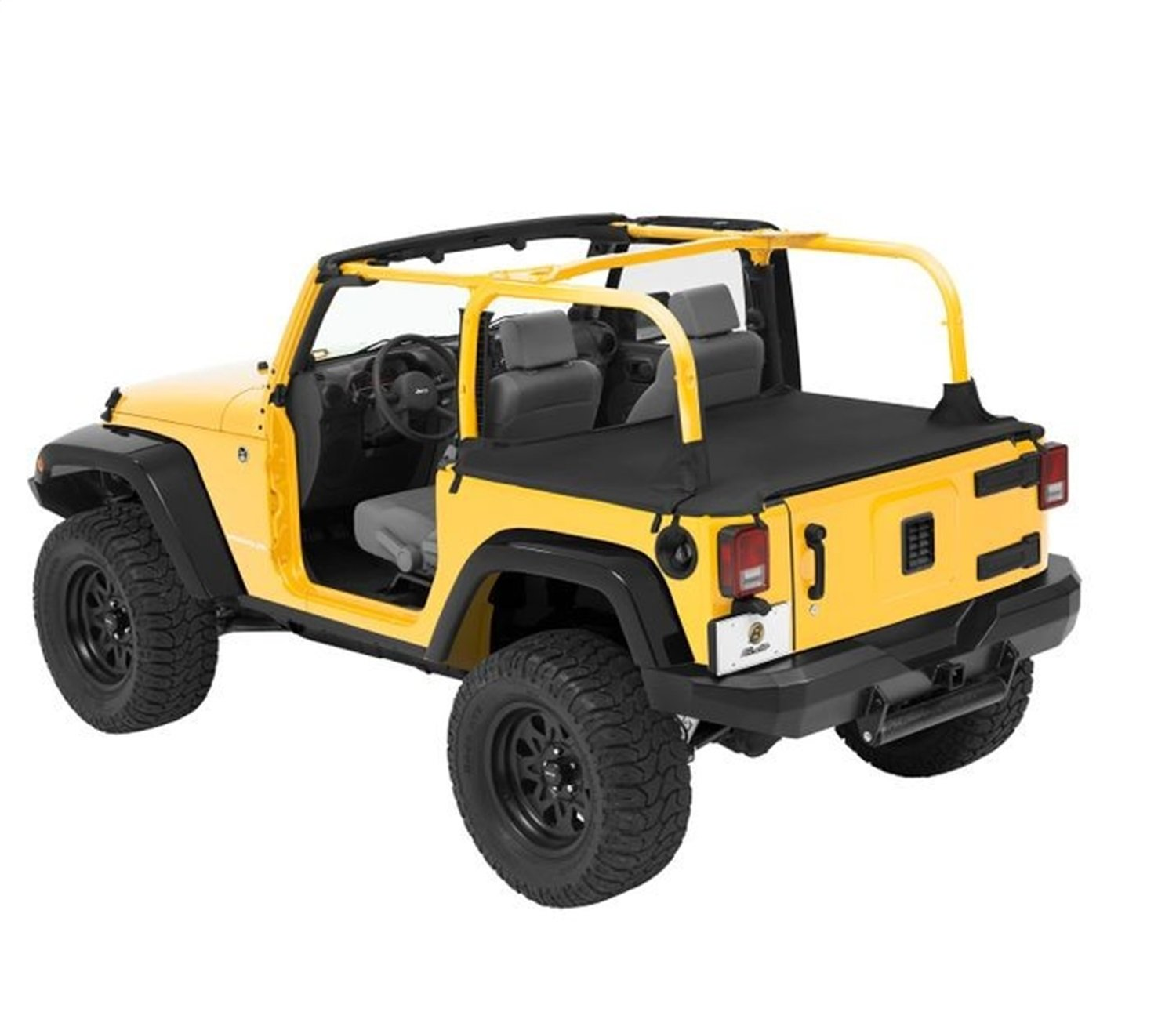 Bestop 90033-35 Black Diamond Duster Deck Cover for 2007-2018 Wrangler 2-Door (with factory soft top hardware removed)