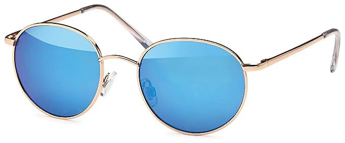 Vintage Vollrand- Sonnenbrille Runde Form Metall Sonnenbrille Verspiegelt Unisex- UV400 Schutz (goldfarben, blau verspiegelt)